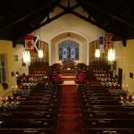 church interior from balcony Christmas